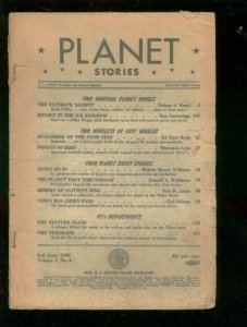 PLANET STORIES #4 - FALL 1940-FICTION HOUSE SCIENCE-FI P/FR