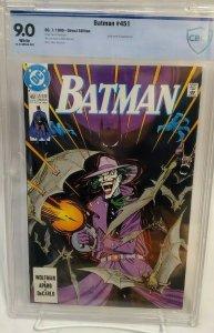 Batman #451 - CBCS 9.0 - Classic Norm Breyfogle - Joker Cover - White Pages