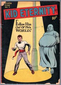 KID ETERNITY #3-1946-CLASSIC COVER-MAC RABOY-GOLDEN AGE COMIC-G/VG G/VG