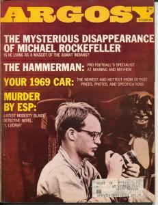 Argosy 10/1968-Popular-ESP Murder-David Rockefeller-Steeger-pulp thrills-VG