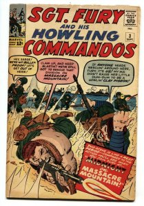 SGT FURY AND HIS HOWLING COMMANDOS-#3-1963-MARVEL-KIRBY ART WWII comic book
