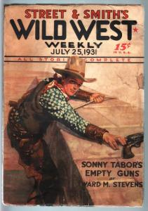 WILD WEST WEEKLY-7/25/1931-PULP-SONNY TABOR VG/FN