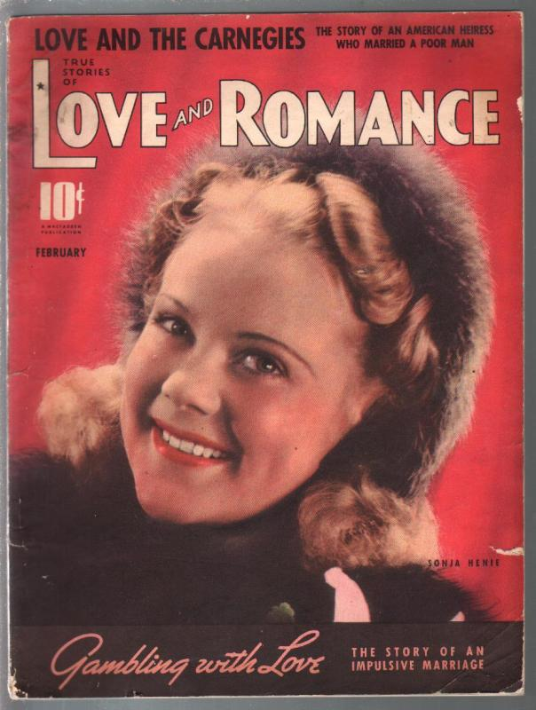 Love and Romance 2/191939-Sonia Henie-pulp fiction-posed pix-VG