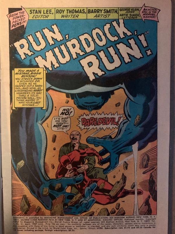 Daredevil (1964) 51 VG/Fine (5.0)  Barry Windsor Smith Art