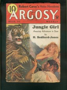 ARGOSY WEEKLY3/10/34-TIGER COVER-JUNGLE GIRL-PULP VG