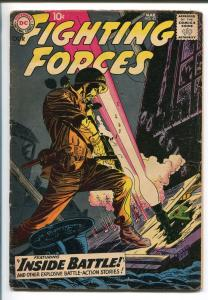 OUR FIGHTING FORCES #43-1959-DC-SILVER AGE-WWII THRILLS-EXPLOSIVE THRILLS-vg