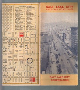 Salt Lake City and Vicinity Map 1930's-points of interes-streets-FN