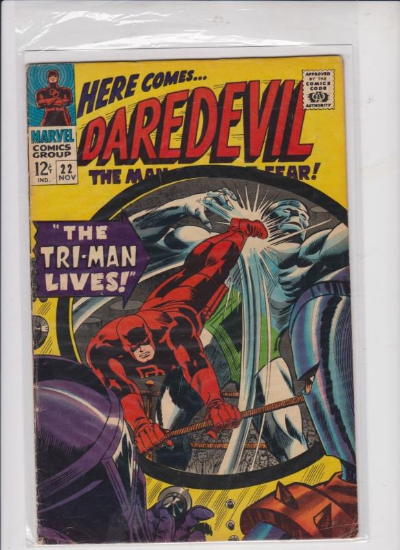 DAREDEVIL THE MAN WITHOUT FEAR V1 #22  1966  THE TRI MAN LIVES