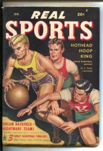 Real Sports 1/1948-Basketball coverPulp stories by Gardener F Fox-Burgess Leo...