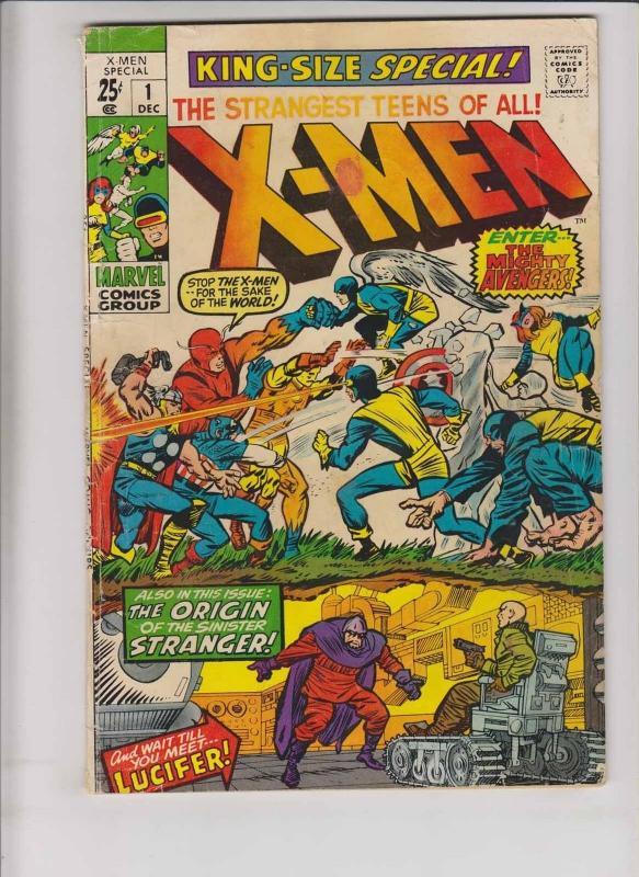 X-Men Annual #1 GD stan lee - jack kirby - avengers vs x-men - bronze age 1970