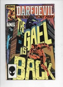 DAREDEVIL #216 VF/NM  Murdock, Gael, 1964 1985, more Marvel in store
