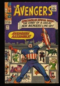 Avengers #16 VG+ 4.5 New Lineup! Marvel Comics Thor Captain America