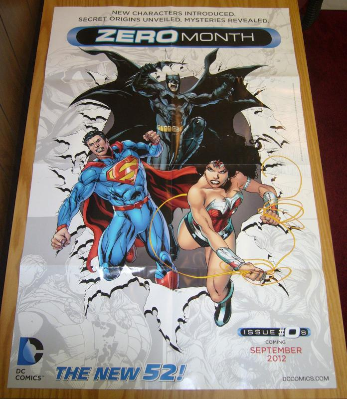 DC Comics New 52 Zero Month promotional poster - batman  superman  wonder woman