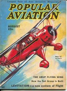 Popular Aviation 8/1933-H.-R. Bollin Waco C biplane cover-Earhart-VG/FN