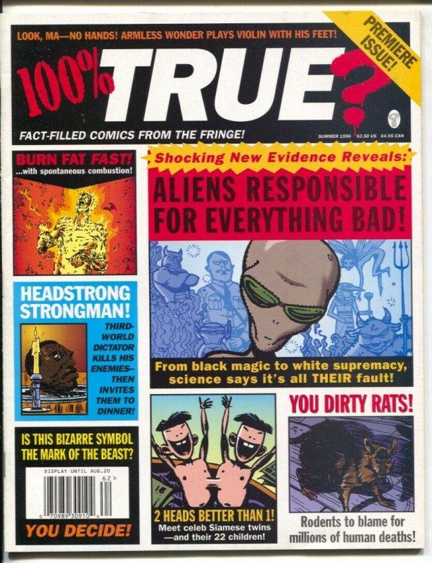 100% True? #1 1996-1st issue-Howard Hughes-Idi Amin-Russ Heatj Gahan Wilson-VF+