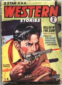 3 STAR WESTERN-1950s RARE BRITISH PULP-COLORFUL GUNFIGHT COVER ART