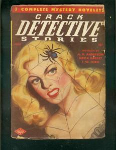 CRACK DETECTIVE STORIES PULP-JUNE 1947-SPIDER COVER VG