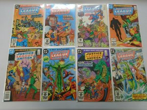 Justice League lot 31 diff 75c covers from #221-260 avg 6.0 FN (1983-87)
