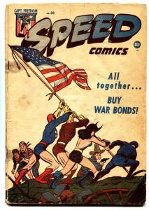 Speed #38 1945-Harvey-Captain Freedom IWO JIMA cover Golden Age