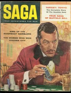 SAGA MAGAZINE OCT 1957-GAMBLING COVER-GERRY KEDRICK VG