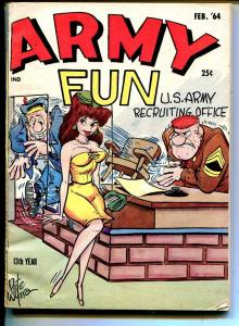 Army Fun 2/1964-Crestwood-military-spicy cartoons-jokes-comics-Wyma-VG/FN