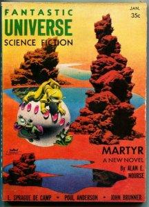 FANTASTIC UNIVERSE SCIENCE FICTION-Jan 1957-Pulp-HANNES BOK cover-4E Ackerman