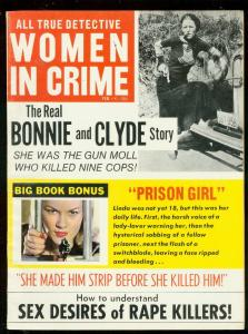 WOMEN IN CRIME FEB 1970-BONNIE & CLYDE-PRISON GIRL-PULP FN/VF