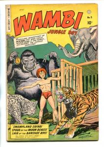 WAMBI JUNGLE BOY #5-1949-FICTION HOUSE-TIGER COVER-H C KIEFER-vg+