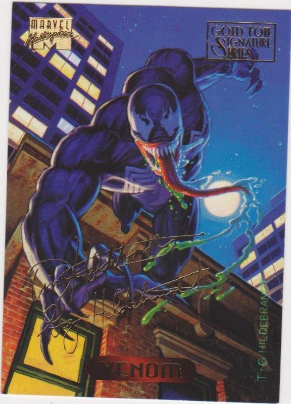 1994 Marvel Masterpieces Gold Foil Signature Series #137 Venom/Hildrebrant