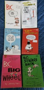 6 Vtg Paperbacks, 3 WIZARD of ID BOOKS, 3 BC, by Johnny Hart; Brant Parker