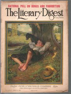 Literary Digest 7/29/1922-early Norman Rockwell art cover-prohibition poll-G
