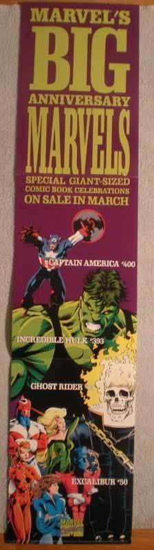 MARVEL'S BIG ANNIVERSARY Promo poster, 8x36, Unused, more Promos in store, Hulk
