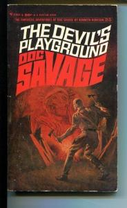 DOC SAVAGE-THE DEVIL'S PLAYGROUND-#25-ROBESON-VG-JAMES BAMA COVER-1ST EDITION VG