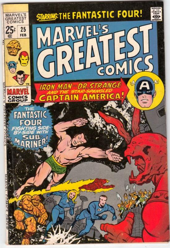 Marvel's Greatest Comics #25 (Feb-70) VF+ High-Grade Fantastic Four, Captain ...