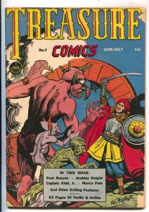 Treasure #7 1946-Prize-Marco Polo-Paul Bunyan-H.C. Kiefer horror cover-Arabia...
