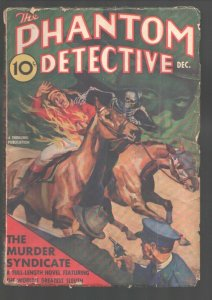 Phantom Detective 12/1938-Flaming jockey and skeleton cover-Classic cover-The...