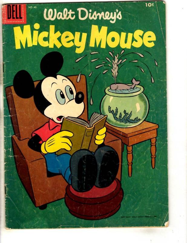 Mickey Mouse # 45 VG Dell Silver Age Comic Book Walt Disney Pluto Donald JL3
