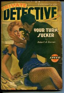 Private Detective 2/1943-Trojan-violent HJ Ward-hardboiled pulp thrills-G/VG