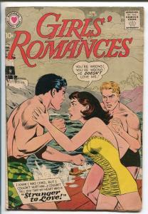 GIRLS' ROMANCES #59 159-DC-SWIMSUIT COVER-STRANGER TO LOVE-vg