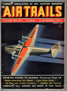 AIR TRAILS PULP 1/1938-AVIATION ART FRANK TINSEY-STREET AND SMITH G/VG