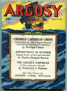 Argosy Pulp October 5 1940- Johnston McCulley- Crooked Caribbean Cross FN