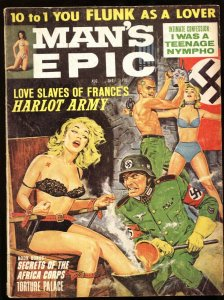 Man's Epic Aug 1964-NAZI molten boot torture! INSANE COVER!