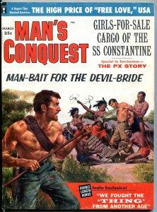 Man's Conquest Magazine March 1960-  Devil Bride- Abominable Snowman