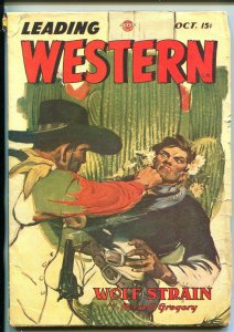 LEADING WESTERN 10/1946-TROJAN-HARD BOILED PULP FICTION-SPICY-vg
