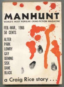 Manhunt Pulp February 1966- Craig Rice- hardboiled VG