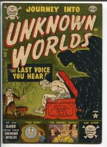 Journey Into Unknown Worlds #12 1952-Atlas-pre-code horror-skull trademark-VG+