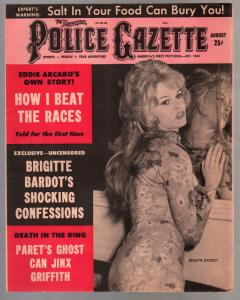 National Police Gazette 8/1962-Brigitte Bardot cover & story-Alcatraz-exploitati