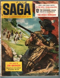 Saga Magazine March 1956-Mens Adventure- Rocky Marciano- Jim Bridger