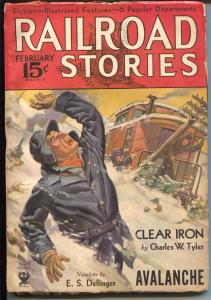Railroad Stories2/1934-Munsey-avalanche disaster-pulp adventure-VG/FN