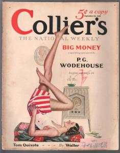 Collier's 9/20/1930-Frank Mutz pin-up girl cover-P.G. Wodehouse-pulp thrills-G/V